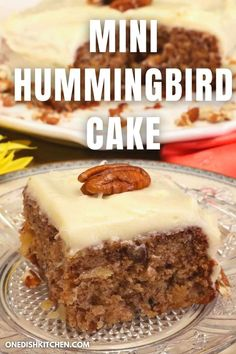 This tropical Mini Hummingbird Cake recipe is a wonderfully moist cake made with one banana, pineapples, and chopped pecans. It's a delicious scaled down version of a southern classic and is frosted with an irresistibly rich cream cheese icing! Candy Recipes, Cupcake Recipes, Cookie Recipes, Summer Dessert Recipes, Delicious Desserts, Hummingbird Cake Recipes, Recipe For 1, Slushie Recipe, Single Serving Recipes