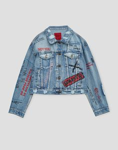 Denim jacket with scribbles - Denim - Coats and jackets - Clothing - Woman - PULL&BEAR Albania