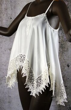 Boho Hippie Shabby Chic Gypsy China Silk Lace Top by LaineeLee