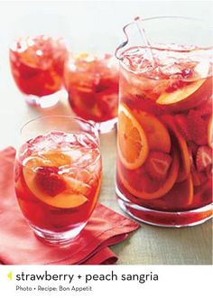 Strawberry-peach sangria. #drinks