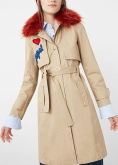 Trench col fourrure synthétique   MANGO