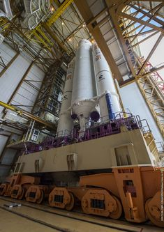 Galileo navigation satellites buttoned up for launch on Ariane 5 rocket – Spaceflight Now Galileo Spacecraft, Astronomy Science, Space Rocket, Launch Pad, Nasa Space, The Expendables, Mechanical Design, Space Exploration, Rockets