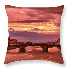 Florence Throw Pillow featuring the photograph Dreamlike Sunset From Ponte Vecchio by Eduardo Jose Accorinti. Beautiful pillows featuring gorgeous cities, amazing landscapes and magical moments for your bedroom or living room decor. Ideal to give as a gift. They are made from 100% spun polyester poplin fabric and add a stylish statement to any room. Worldwide shipping, 30 days money back guarantee. Click on the image to see your choices! Funny Pillows, Throw Pillows, Poplin Fabric, The World's Greatest, Great Artists, Florence, Living Room Decor, Cities, Landscapes