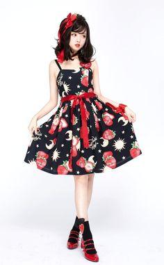 Pretty Rock Baby -Strawberries Floating In The Universe- Sweet Lolita JSK (Normal Waist Version)