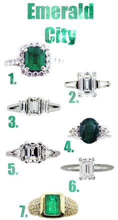 Emerald cut diamond engagement ring + emerald engagement ring - Modern, clean, classic, elegant or glamorous - what's not to love?