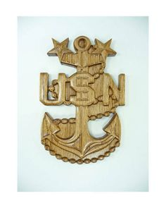 NAVY E9 Rank Plaque MCPO Carved  Wall Wood Wooden Military