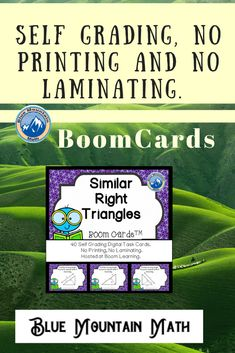 Boom Cards™ are a great way for students to practice every day skills In this deck, students practice finding the missing sides of similar right triangles. This set of Boom Cards features different Digital Self-Checking Task Cards. (No printing, cutting, laminating, or grading!)