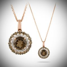 In Style by Rafael, 14 karat rose gold fashion necklace set with one round faceted smoky topaz, weighing 2.00 carats total, and .54 carats of round brilliant white and brown diamonds total. Chain shown is included!