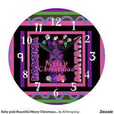 Baby pink Beautiful Merry Christmas #Hakuna #beautiful #amazing stuff gifting pro,a Matata Large Clock