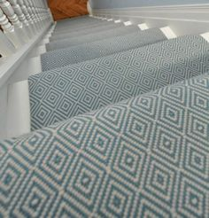 Pretty Painted Stairs Ideas to Inspire your Home stair carpet runner (stairs painted ideas) Tags: carpet stair treads, striped stair carpet, stair carpet ideas stair+carpet+ideas+staircase Grey Stair Carpet, Carpet Stair Treads, Hallway Carpet, Blue Carpet, Carpet Colors, Striped Carpet Stairs, Hallway Flooring, Basement Carpet, White Carpet