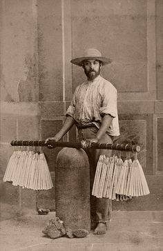 Mexican candle merchant  From a scarce CDV album of mexican occupationals made by the studio Cruces y Campa in the 1860s. (Velero)