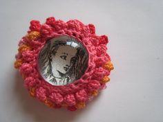 Alice in Wonderland Glass Crochet Brooch by zimimi on Etsy, $15.00