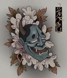 #Repost @michael.grinberg1 🙏🙏 #irezumi #tattoo #tattoosketch #japanesetattoo #japanesetattoodesign #wabori #tattoodesign #horimono… Tengu Tattoo, Hanya Mask Tattoo, Irezumi Tattoos, Mascara Oni, Japanese Mask Tattoo, Japanese Tattoos, Evil Mermaids, Old School Tattoo Designs, Famous Tattoo Artists