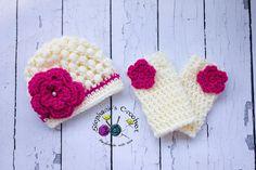 Crochet baby girl puff stitch hat and leg warmer by Stephyscrochet