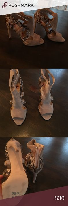 """NWOT ivanka trump beige and snake skin heels NWOT some color on sole from try on you can see in photos.4"""" heel Ivanka Trump Shoes Heels"""