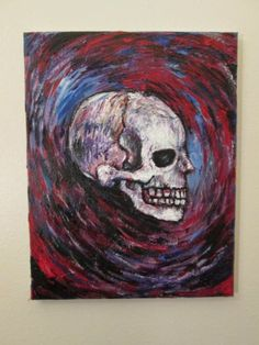 """SKULL"" impasto/ abstract/ outsider art/ original 11""x""14 canvas,by jack larson"