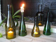New Wine Bottle Hurricane/Candle Holders in my #Etsy store, HauteRubbish