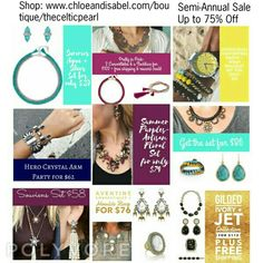 Just some of the great pieces you can get at great deals during our Semi-Annual Sale Now - 7/12. With 250 items up to 75% OFF! Shop:www.chloeandisabel.com/boutique/thecelticpearl   #Sale #SemiAnnual #Save #Discount #Promo #deal #Summer #jewelry #fashion #accessories #style #shopping #shop #trendy #trending #trend #trends #boutique #thecelticpearl #chloeandisabel #lifetimeguarantee #buy #online