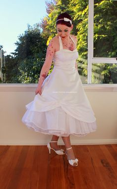 1950s 'Cecilia' Pin up Wedding Dress with by PixiePocket on Etsy, $305.00