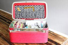 Make over a vintage train case to hold beauty products, craft supplies, anything! via Darling Adventures