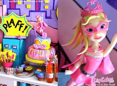 Cake + Cake Topper from a Superhero Barbie Birthday Party via Kara's Party Ideas | KarasPartyIdeas.com (21)