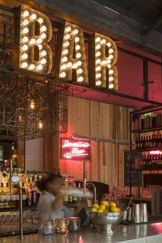 Neon Bar sign at Jamie's Italian & Spritz Bar, Islington, London