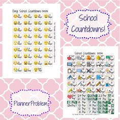 Free printable and custom planner stickers including free functional and decorative stickers as well as free kits and samplers! Free Planner, Happy Planner, 2018 Planner, Planner Ideas, School Countdown, Printable Planner Stickers, Journal Stickers, Printables, Custom Planner
