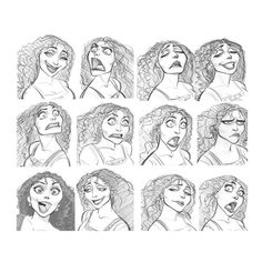 """""""Mother Gothel"""" Expressions Sheet by Jin Kim* Art of © Walt Disney Animation Studios*  • Blog/Website 