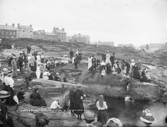 Ladies' Bathing Place at Portrush, Co. Antrim, Ireland c.  Source: National Library of Ireland   Vintage Photography, Vintage Photos, Bathing, Dolores Park, The Past, Funny Pictures, Old Things, History, World