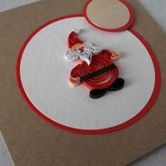 Quilled Christmas card, paper quilling, Santa, Father Christmas