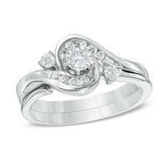 1/2 CT. T.W. Diamond Frame Bypass Bridal Set in 10K White Gold