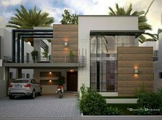 Gravity Designs in Pakastan Bungalow House Design, House Front Design, Small House Design, Modern House Design, Modern Architecture House, Architecture Design, Minimalist House Design, Modern House Plans, Modern House Exteriors