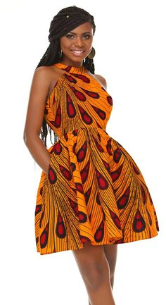 Shenbolen Women African Ankara Batik Print Traditional Clothing Casual Party Dress Large Yellow >>> Check out the picture web link more details. (This is an affiliate link). African Wear Dresses, Latest African Fashion Dresses, African Attire, African Clothes, African American Fashion, African Print Fashion, African Prints, African Style, Ankara Gown Styles