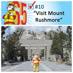 Sparky checked off two items when he visited Mount Rushmore and the Crazy Horse Memorial, both in the Black Hills region of South Dakota. Sparky The Fire Dog, Crazy Horse Memorial, Mount Rushmore, Bucket, Horses, Dogs, Buckets, Doggies, Horse