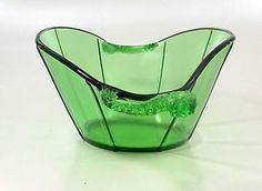 Fenton Art Glass Dolphin Fish Handled Emerald Green 1621 Paneled Bowl Unusual