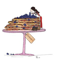 Pancakes and blueberries, I love them! Illustration by Evi Psaltidi Sunday Morning, Blueberries, Pancakes, Presents, My Love, Illustration, Gifts, Berry, Favors