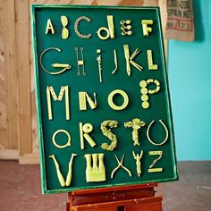 Practice your ABCs with this quirky art piece. Prime a piece of scrap wood and paint the background the color of your choice; Scour a junk… Fun Crafts, Diy And Crafts, Crafts For Kids, Recycled Crafts, Diy Letters, Letters And Numbers, Diy Wall Art, Diy Art, Quirky Art
