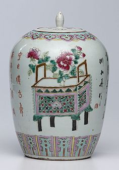 Chinese, late 19th century. A famille verte lidded ginger jar with enameled floral and geometric decorations, with Chinese text on all sides, and signed by artist Liu Heyi, one of the known artists from Jing De Zhen during the late Qing dynasty and early Republic period; ht. 12 in. Chinese Figurines, Geometric Decor, Chinese Ceramics, China Painting, Qing Dynasty, Ginger Jars, Jar Lids, Porcelain Ceramics, Vases