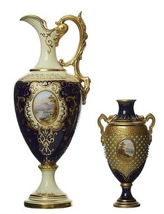 A COALPORT EWER, WITH A JEWELLED VASE, CIRCA 1910 Each painted with landscape cartouche in the manner of Percy Simpson, on a cobalt blue ground, the ewer with tolled gilt scrolls and gilded handle, the vase with turquoise jewels on a tolled gilded ground