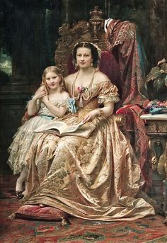 HM THE QUEEN OF HANOVER MARIE OF SAXE-ALTENBURG DUCHESS OF CUMBERLAND AND BRUNSWICK WITH HER DAUGHTER THE PRINCESS MARIE OF HANOVER
