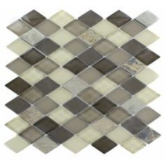 Tectonic Diamond Multicolor Slate and Khaki Blend 11 in. x 12 in. x 8 mm Glass Floor and Wall Tile (Backsplash? Stone Mosaic Tile, Mosaic Glass, Glass Tiles, Contemporary Mosaic Tile, Mosaic Tiles For Sale, Splashback Tiles, Unique Tile, Glass Floor, Tile Patterns