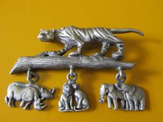 "Vintage RAZZA SAFARI BROOCH Pewter Setting Dangling Animal Accents Marked Uni Sex Collectible Gift Measures 2 1/4"" x 1 3/4"" Zoo Animal Lover by GrammiesCupboard on Etsy"