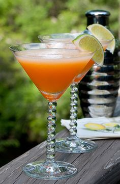 Cantaloupe Martini  1/2 of a very ripe cantaloupe, scooped out and seeds removed  2 shots vodka   1 shot Cointreau  Squeeze of fresh lime juice  Pinch of salt  Ice  Blend in mixer until smooth.  Garnish with Lime.  Yum!