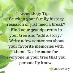 Need a break in your family history research? Consider adding a story to your tree. #ancestry #genealogytips #genealogy #familyhistory #ancestors