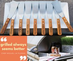 Looking for a personalized gift? Choose from our wide selection of personalized wedding gifts, housewarming gifts and more. Bbq Kitchen, Kitchen Decor, Grill Master, March Madness, Pick One, Wooden Handles, House Warming, Grilling, Bridal Shower