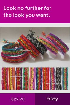 100 COLORFUL FRIENDSHIP BRACELETS - HANDMADE IN PERU - WHOLESALE LOT RIBBONS Weaving Textiles, Loom Weaving, Handmade Bracelets, Friendship Bracelets, Jewelry Watches, Peru, Ribbons, Colorful, Ebay