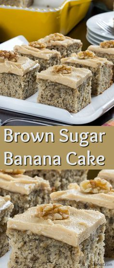 banana dessert recipes One of our favorite ways to use up ripe bananas is to bake 'em into a cake, like this Brown Sugar Banana Cake. This banana cake recipe makes such a moist and delicious cake that no one will be able to keep away! Just Desserts, Delicious Desserts, Yummy Food, Baking Desserts, Banana Dessert Recipes, Snack Recipes, Snacks, Easy Recipes, Healthy Recipes