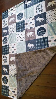 Minky Baby Blanket- Lumberjack Navy and Gray Baby Boy Blanket- Navy Baby Bedding- Baby Gift- Lumberjack Nursery- Adventure Blanket- Woodland by CraftCreationsbyEB on Etsy