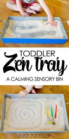 Toddler Zen Tray: Create a calming sensory bin for toddlers and preschoolers; easy indoor activity