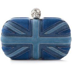 Alexander McQueen 'Britannia Skull' box clutch ($1,255) ❤ liked on Polyvore featuring bags, handbags, clutches, purses, alexander mcqueen, blue, british flag purse, skull purse, union jack purse and skull clutches